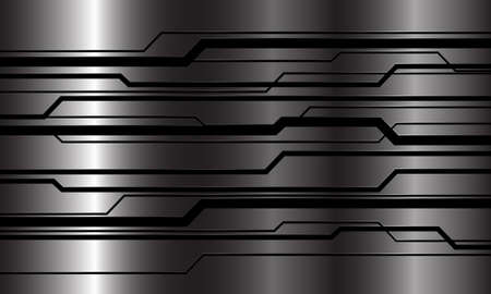 Abstract black line cyber circuit geometric on metal design modern luxury futuristic technology background vector illustration.
