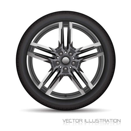 Realistic allow car wheel silver grey star shape with black tire on white background design sport vector illustration.