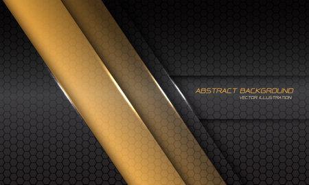 Abstract yellow metallic line shadow slash on dark grey hexagon mesh with text design modern futuristic background vector illustration. 矢量图像