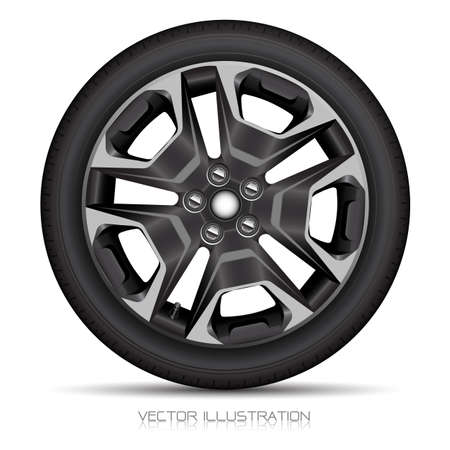 Realistic alloy wheel car tire style sport on white background vector illustration. Иллюстрация