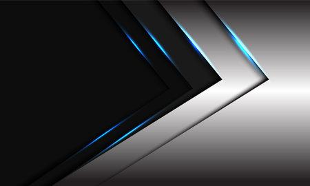Abstract sliver grey metallic blue light arrow direction with dark blank space design modern futuristic vector background illustration. Иллюстрация