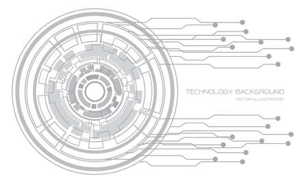 Abstract technology grey circle cyber circuit line on white futuristic design modern background vector illustration.