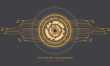 Abstract technology yellow grey circle cyber circuit line futuristic design modern background vector illustration.