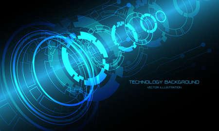 Technology blue circle cyber circuit disassemble overlap futuristic design background modern vector illustration.