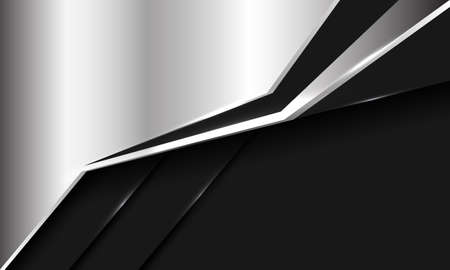 Abstract silver black metallic futuristic style with blank space design modern background vector illustration.