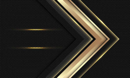 Abstract gold arrow direction on black circle mesh with blank space design modern luxury futuristic background vector illustration. 矢量图像