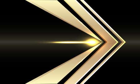 Abstract gold arrow speed direction on black design modern futuristic background vector illustration. 矢量图像