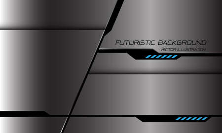 Abstract grey metallic black cyber line shadow geometric blue light power design modern futuristic technology background vector illustration.
