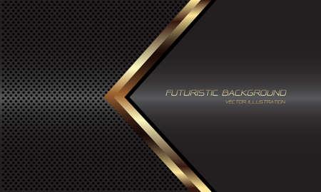 Abstract golden arrow black line direction on dark grey metallic circle mesh design modern luxury futuristic background vector illustration.