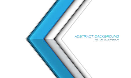 Abstract blue arrow metallic shadow direction on white with blank space design modern futuristic background vector illustration.