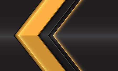 Abstract yellow glossy arrow direction on dark grey metallic design modern futuristic background vector illustration. 矢量图像