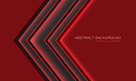 Abstract grey metallic red light arrow direction with blank space design modern futuristic background vector illustration.