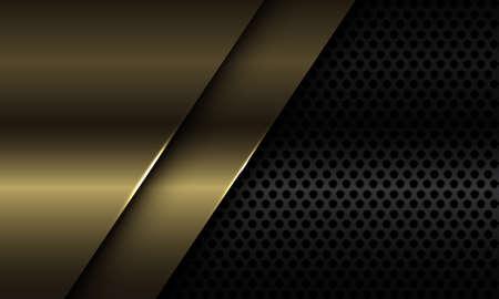 Abstract gold plate overlap on black circle mesh design modern luxury futuristic background vector illustration. 矢量图像