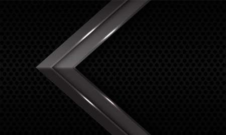 Abstract grey metallic arrow  direction on black circle mesh pattern design modern futuristic background vector illustration.