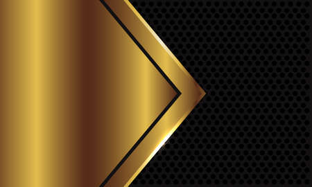 Abstract gold arrow blank space on dark grey circle mesh design modern luxury futuristic background vector illustration.