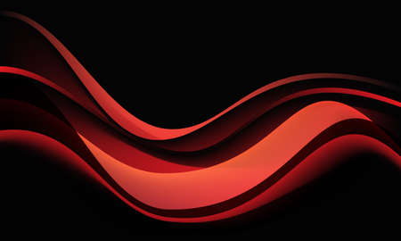 Abstract red wave curve shadow dynamic on black background vector illustration. Иллюстрация