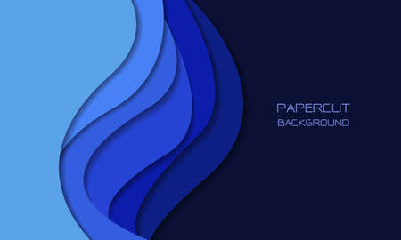 Abstract blue tone paper cut 3D layers overlap art with blank space design modern futuristic background texture vector illustration.