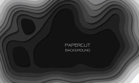 Abstract grey tone paper cut 3D layers overlap art background texture vector illustration. Иллюстрация