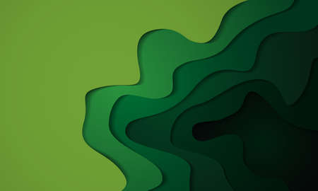 Abstract green tone 3D paper cut layers background vector illustration. Иллюстрация