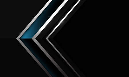 Abstract dark blue glossy silver line arrow shadow direction on black with blank space design modern futuristic background vector illustration.