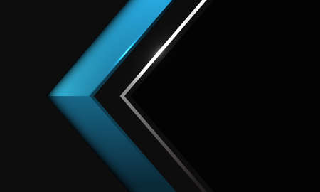 Abstract blue silver line arrow shadow direction on black metallic with blank space design modern futuristic background vector illustration. Иллюстрация
