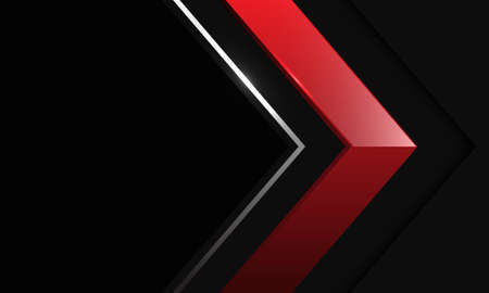 Abstract red silver line arrow shadow direction on black metallic with blank space design modern futuristic background vector illustration. Иллюстрация