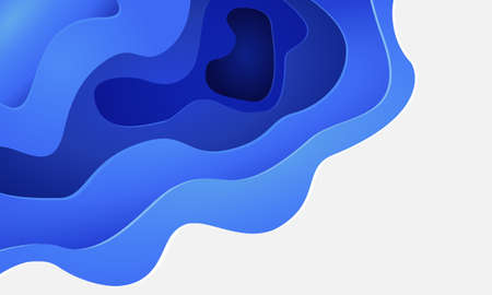 Abstract blue white paper cut 3D layers with blank space design modern background vector illustration. Иллюстрация