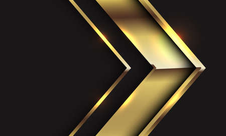 Abstract gold glossy arrow direction on black with blank space design modern luxury futuristic background vector illustration.