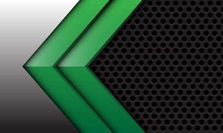 Abstract twin green arrow on silver with dark grey circle mesh design modern futuristic background vector illustration. Иллюстрация
