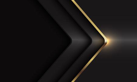 Abstract gold line arrow shadow curve direction on dark grey metallic with blank space design modern luxury futuristic background vector illustration. Иллюстрация
