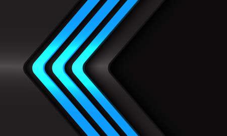 Abstract blue light neon arrow lines direction on dark grey metallic whit black blank space design modern futuristic technology background vector illustration.