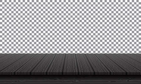 Realistic black wood table top on transparency background vector illustration.