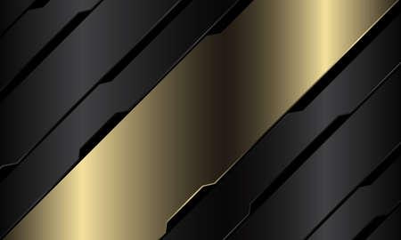 Abstract gold banner grey metallic black circuit cyber geometric slash design modern luxury futuristic technology background vector illustration. Иллюстрация