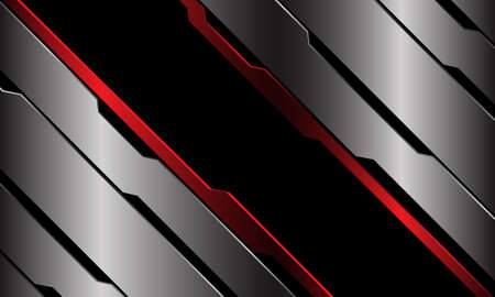Abstract black red banner blue metallic circuit cyber line geometric slash design modern luxury futuristic technology background vector illustration.