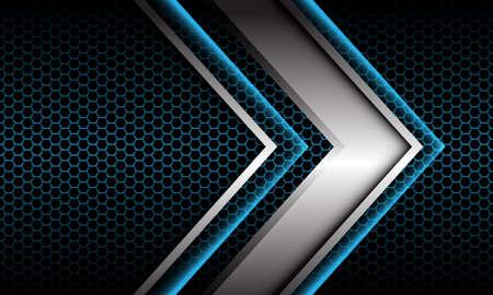 Abstract silver arrow shadow metallic direction geometric on blue hexagon mesh pattern design modern futuristic background vector illustration. Иллюстрация