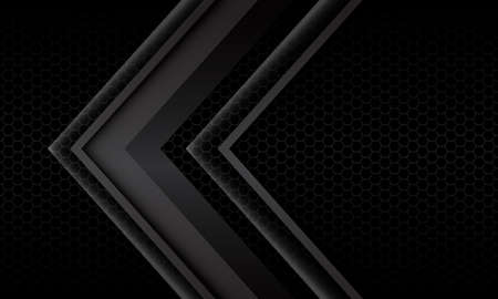 Abstract grey arrow shadow metallic direction geometric on black hexagon mesh pattern design modern futuristic background vector illustration.