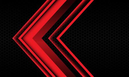 Abstract red arrow shadow metallic direction geometric on black hexagon mesh pattern design modern futuristic background vector illustration. Иллюстрация
