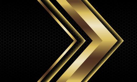 Abstract gold arrow shadow metallic direction geometric on black hexagon mesh pattern design modern luxury futuristic background vector illustration. Иллюстрация