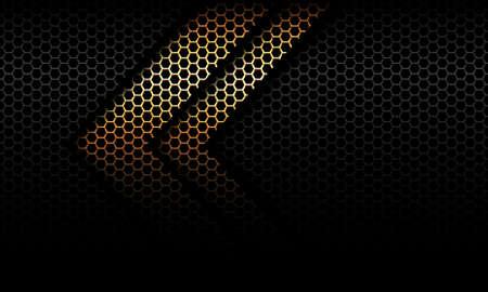 Abstract golden arrow shadow direction on black hexagon mesh design modern futuristic background vector illustration.