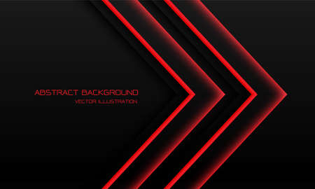 Abstract red light neon arrow direction on black with blank space design modern futuristic technology background vector illustration.
