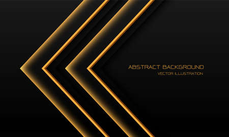 Abstract yellow light neon arrow direction on black with blank space design modern futuristic technology background vector illustration.