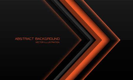 Abstract orange metallic arrow direction on black with blank space design modern futuristic technology background vector illustration. Иллюстрация