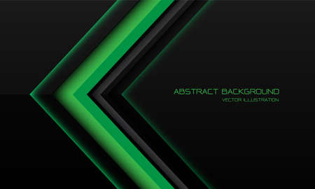 Abstract green metallic arrow direction on black with blank space design modern futuristic technology background vector illustration. Иллюстрация