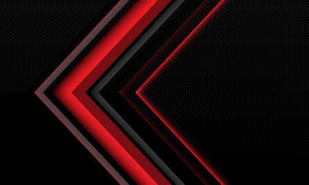 Abstract red grey light shadow arrow geometric direction on black hexagon mesh texture pattern metallic with blank space design style modern futuristic technology background vector illustration. Иллюстрация