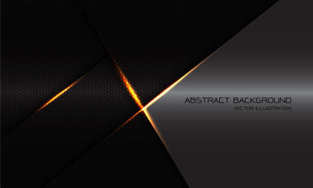 Abstract geometric black hexagon mesh gold light cross shadow with grey metallic blank space design modern luxury futuristic background vector illustration.