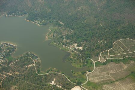 Bird eye view of dam surrounding of mountain located at north of Thailand
