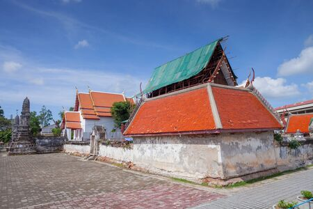 Old temple under renovation under clear sky location at thailand