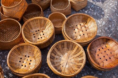 Wooden of empty basket by handmade at weekend market location at thailand Banco de Imagens