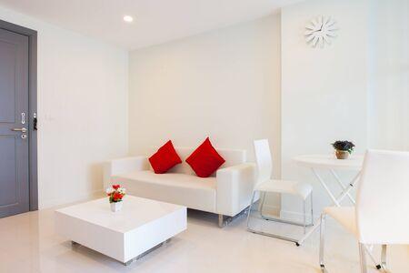 Modern condominium living room and bedroom