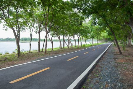 Empthy running lanes of road in park between tree at sunset timing location at Bangkok Thailand